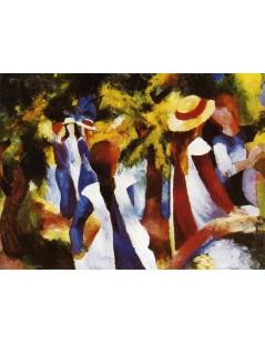 Tytuł: Girls under Trees, Autor: August Macke