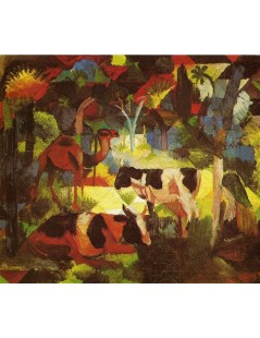 Tytuł: Landscape with Coows and Camel, Autor: August Macke