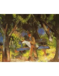 Tytuł: Man Reading in a Park, Autor: August Macke