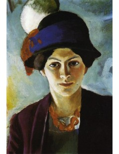 Tytuł: Portrait of the Artists Wife with Hat, Autor: August Macke
