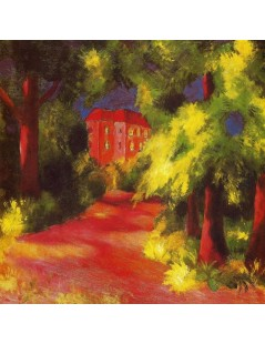 Tytuł: Red House in a Park, Autor: August Macke