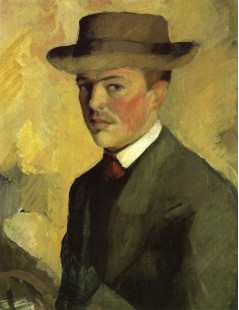 Tytuł: Self Portrait with Hat, Autor: August Macke