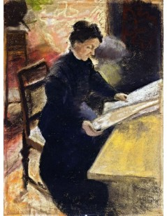 Tytuł: Sofie Gerhardt, Reading the Newspaper, Autor: August Macke