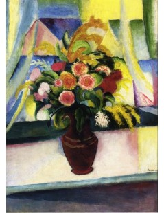 Tytuł: Still life colourful bunch of flowers in front of a window, Autor: August Macke