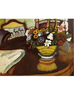 Tytuł: Still Life with Stag Cushion and Flowers, Autor: August Macke
