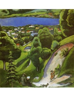 Tytuł: Tegernsee Landscape with Man Reading and Dog, Autor: August Macke