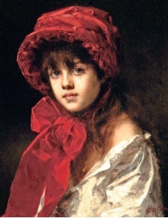 Tytuł: Girl in a Red Hat, Autor: Alexei Harlamoff