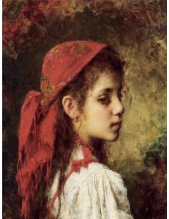 Tytuł: Portrait of a Young Girl in a Red Kerchief, Autor: Alexei Harlamoff