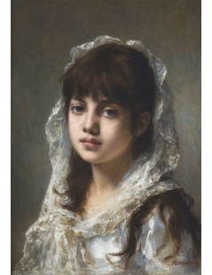 Tytuł: Portrait of a young girl wearing a white veil, Autor: Alexei Harlamoff