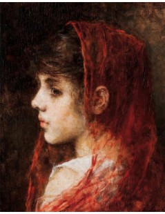 Tytuł: Portrait of a young girl with a red veil, Autor: Alexei Harlamoff