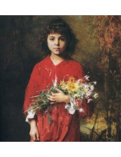 Tytuł: Portrait of a young girl with flowers, Autor: Alexei Harlamoff