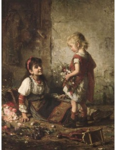 Tytuł: The little flower girls, Autor: Alexei Harlamoff