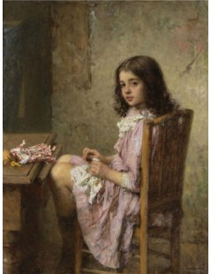 Tytuł: The Little Seamstress, Autor: Alexei Harlamoff
