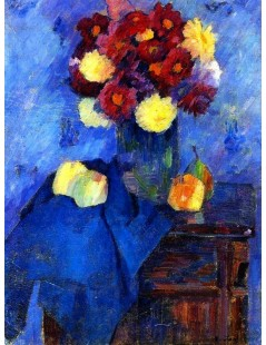 Tytuł: Vase with Dahlias on a Tall, Autor: Alexei Jawlensky