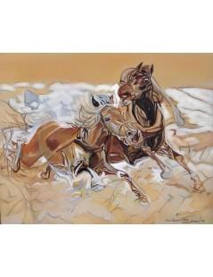 Tytuł: Konie w biegu, Autor: Józef Chełmoński