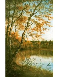 Tytuł: Pejzaż nad wodą, brzozy, Autor: Emilia Czupryńska