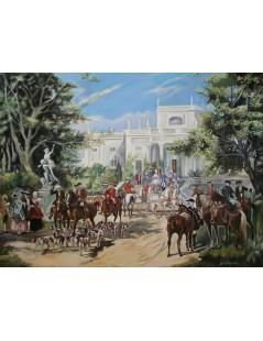 Tytuł: Przed pałacem, wyjazd na polowanie, Autor: Wojciech Kossak
