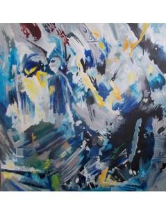 Tytuł: Abstrakcja srebrno- kobaltowa z postacią, Autor: Emilia Czupryńska