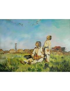 Tytuł: Bociany - Józef Chełmoński, Autor: Józef Chełmoński