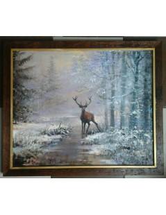 Tytuł: Pejzaż zimowy, jeleń, Autor: Z fotografii