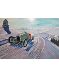Tytuł: Auto na tle pejzażu zimowego, Autor: Rafał Malczewski
