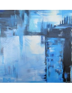 Tytuł: Abstrakcja niebieska, Autor: Emilia Czupryńska
