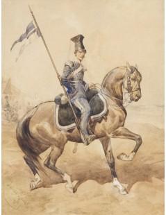 Tytuł: Ułan Lwowskiej Gwardii Narodowej, Autor: Juliusz Kossak