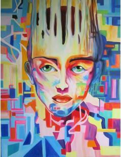 Tytuł: Neonowa twarz kobiety, Autor: Emilia Czupryńska