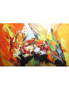 Tytuł: abstrakcja Ogień i lawa II, Autor: Emilia Czupryńska