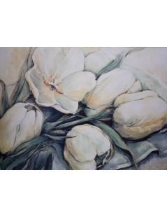 Tytuł: duży obraz olejny, kwiaty białe tulipany do salonu, Autor: Emilia Czupryńska