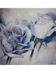 Tytuł: Duży obraz olejny, kwiaty białe róże do salonu, Autor: Emilia Czupryńska