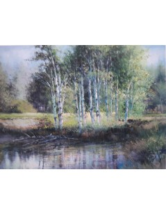 Tytuł: Pejzaż z lasem brzozowym i trawami- duży obraz, Autor: Emilia Czupryńska