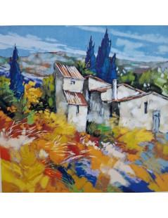 Tytuł: Pejzaż śrudziemnomorski - kolorowy obraz olejny, Autor: Valentina