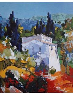 Tytuł: Pejzaż śrudziemnomorski II - kolorowy obraz olejny, Autor: Valentina