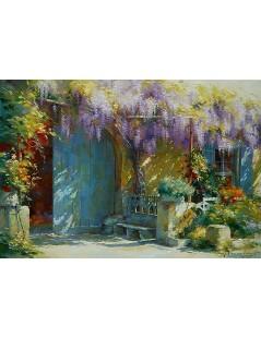 Tytuł: Ogród z glicynią, spektakularny obraz do salonu, Autor: Peter Severen Kroyer