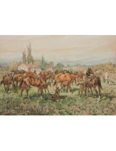 Tytuł: Stadnina na łące, 1891, Autor: Juliusz Kossak