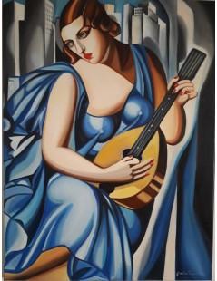 Tytuł: Kobieta w niebieskiej sukni z mandoliną, Autor: Tamara de Lempicka